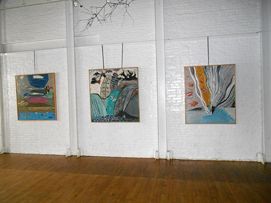Large abstracts in place at Mulberry Art Studios.